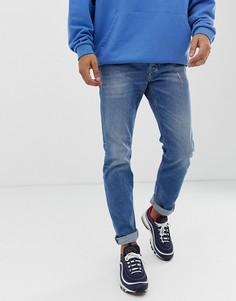 Выбеленные суженные книзу джинсы классического кроя Diesel Larkee-Beex 089AW-Синий