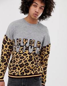 Джемпер с леопардовым рисунком и надписью ASOS DESIGN-Мульти