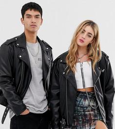 Байкерская куртка унисекс из полиуретана Reclaimed Vintage inspired-Черный