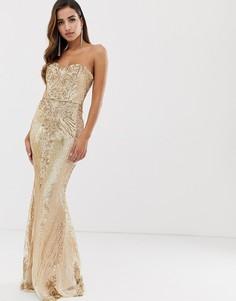 Золотистое платье-бандо макси с пайетками Goddiva-Золотой