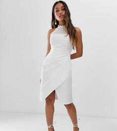 Белое платье миди с запахом и кружевным лифом Paper Dolls Petite-Белый