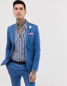 Супероблегающий однотонный пиджак из эластичного хлопкового сатина Devils Advocate-Синий