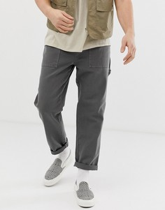 Серые брюки в стиле милитари из плотной парусины ASOS DESIGN-Серый