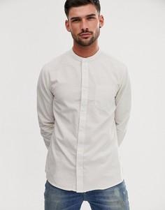 Светло-бежевая рубашка в полоску с воротником на пуговице Burton Menswear-Светло-бежевый