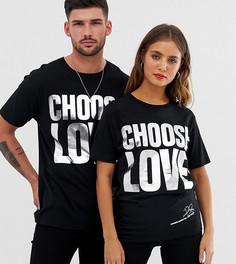 Черная футболка из органического хлопка с серебристым блестящим принтом Help Refugees Choose Love-Черный