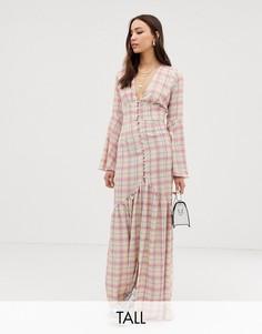 Чайное платье макси в клетку с пуговицами Glamorous Tall-Белый