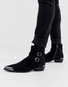 Черные ботинки челси в стиле вестерн из искусственной замши на кубинском каблуке с пряжками ASOS DESIGN-Черный