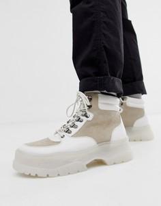 Белые ботинки на толстой подошве со шнуровкой ASOS DESIGN-Белый