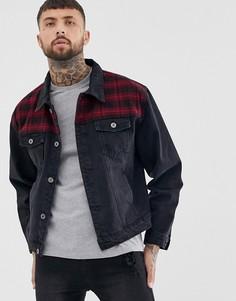 Выбеленная черная джинсовая куртка нашивками в клетку Liquor N Poker-Черный