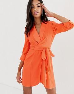 Платье-смокинг мини с завязывающимся поясом ASOS DESIGN-Оранжевый