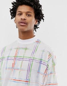Oversize-футболка в клетку с высоким вырезом ASOS DESIGN-Белый