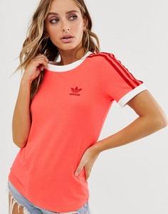 Розовая футболка с тремя полосками adidas Originals adicolor-Розовый