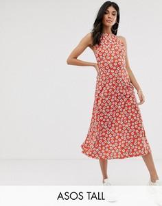 Сарафан-халтер миди с цветочным принтом ASOS DESIGN Tall-Мульти