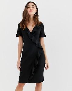 Платье-футляр с оборкой French Connection Alianor-Черный