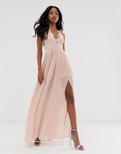Серо-коричневое платье макси с чашечками и фигурным краем на спине Rare London-Розовый