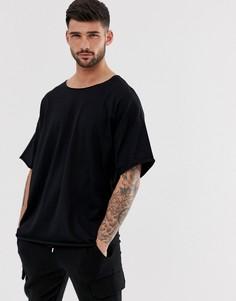 Черная oversize-футболка с необработанной горловиной ASOS DESIGN-Черный