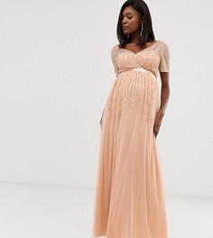 Платье макси из сетки персикового цвета с отделкой пайетками Maya Maternity-Розовый