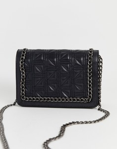 Квадратная сумка через плечо со стеганой отделкой и цепочкой ASOS DESIGN-Черный