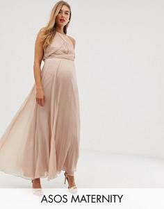 Платье макси со сборками на груди ASOS DESIGN Maternity Bridesmaid-Розовый
