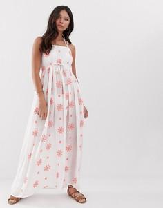 Пляжное платье макси с цветочной вышивкой и отделкой Anmol-Белый