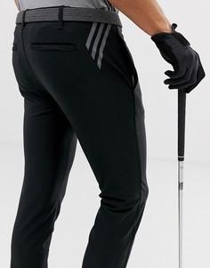 Черные суженные книзу брюки с 3 полосами adidas Golf Ultimate-Черный
