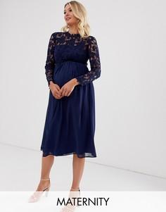 Кружевное темно-синее платье миди с шифоновой юбкой Chi Chi London Maternity-Темно-синий
