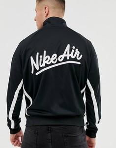 Черная спортивная куртка с контрастными полосками и логотипом Nike-Черный