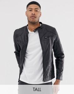 Байкерская куртка из искусственной кожи с двумя карманами French Connection Tall-Черный