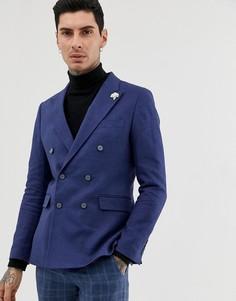 Двубортный приталенный пиджак с добавлением льна Gianni Feraud-Темно-синий