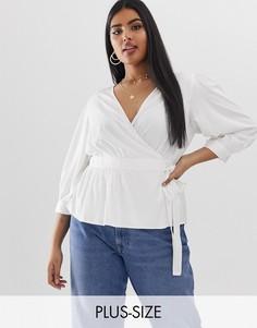 Белая блузка с запахом и рукавами 3/4 Vero Moda Curve-Белый