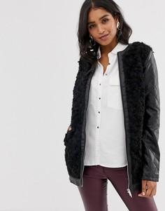 Пальто с молнией и искусственным мехом Vila-Черный