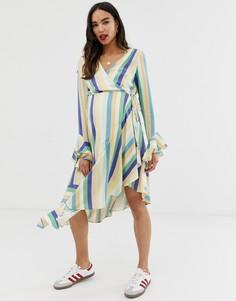 Асимметричное платье в полоску с запахом Wild Honey Maternity-Мульти