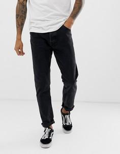 Выбеленные черные джинсы слим Bershka-Черный