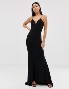 Черное платье макси на бретельках с годе Club L-Черный