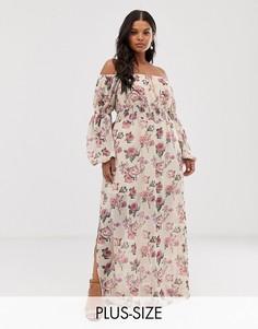Платье макси с открытыми плечами и цветочным принтом Wild Honey Plus-Бежевый