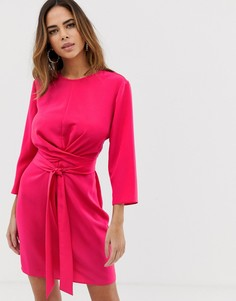 Платье мини с запахом и завязкой ASOS DESIGN-Розовый