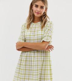 Свободное платье мини в винтажную клетку Wednesdays Girl-Белый
