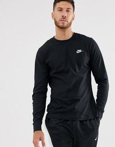Черная футболка с длинными рукавами Nike Club-Черный