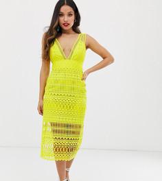 Платье-футляр миди с вышивкой ASOS DESIGN Petite-Мульти