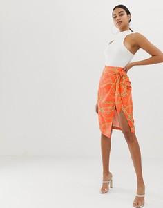 Оранжевая юбка с запахом и принтом 4th + Reckless-Мульти