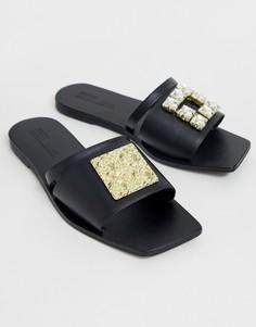 Черные кожаные шлепанцы с отделкой ASOS DESIGN Premium Fortunate-Черный