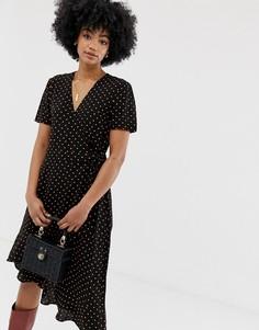 Платье миди в горошек с запахом Resume Clement-Черный Résumé
