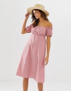 Сарафан миди с открытыми плечами и сборками ASOS DESIGN-Розовый