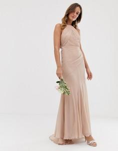 Платье макси с юбкой-годе ASOS DESIGN Bridesmaid-Серый