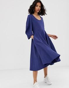 Платье миди с овальным вырезом ASOS WHITE-Темно-синий