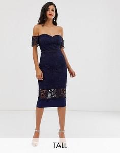 Темно-синее кружевное платье миди с открытыми плечами Chi Chi London Tall-Темно-синий