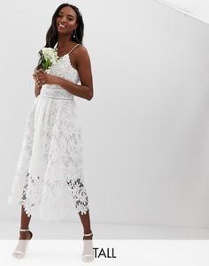 Белое кружевное платье макси на бретельках с цветочным узором Y.A.S Tall-Белый