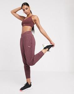 Бордовые спортивные штаны с драпировкой PUMA-Фиолетовый