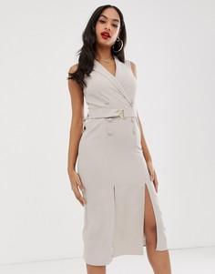 Платье-смокинг миди без рукавов с поясом ASOS DESIGN-Бежевый
