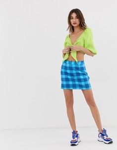 Синяя мини-юбка в клетку тартан Noisy May Chizy-Синий